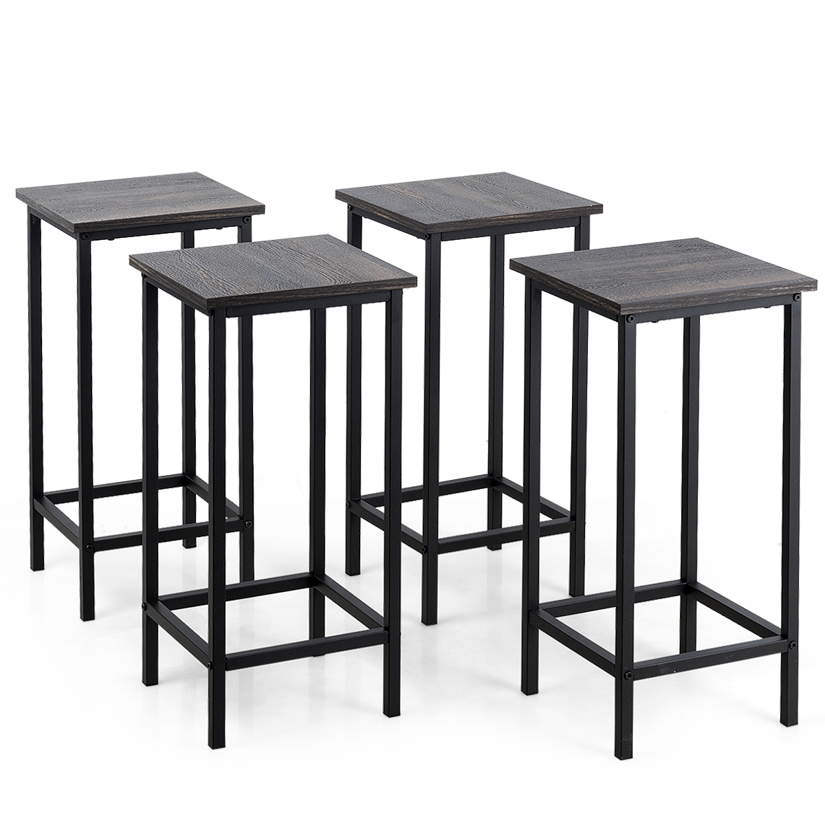 Costway Set Of 4 Bar Stools 24'' Counter Height Backless Dining Stools