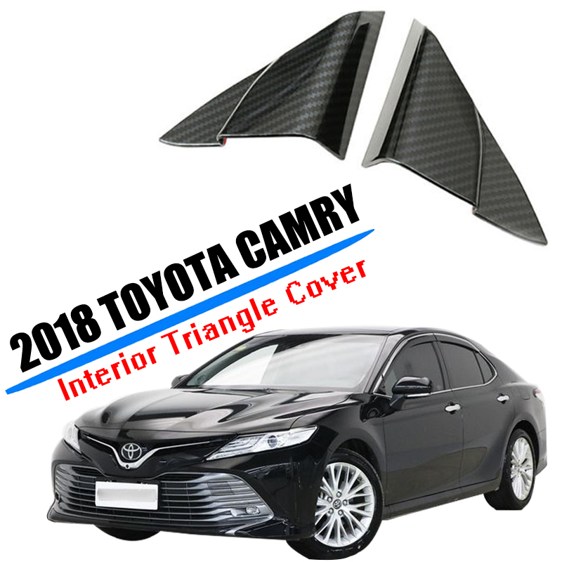 For Toyota Camry 2018 2019 2020 Interior Front Window A-Pillar Cover ABS Front Door Triangle Frame Exterior Mouldings Cover Trim