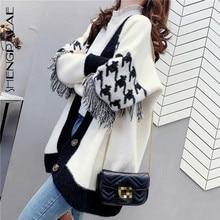 Tassel Sweater Size-Cardigan Thickened Large Knit Coat V-Neck Long-Sleeve Women's Autumn