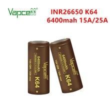 Vapcell original 26650 k64 6400mah 15a/25a li lon bateria de alta capacidade 3.7v boa consistência recarregável para ferramentas de lanterna elétrica