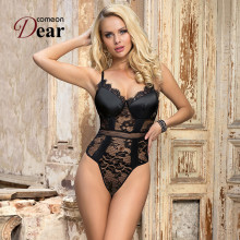 Comeondear Bodysuit Women Lace See Through Sling V-Neck Sleeveless Backless Solid Crotch Open High Quality Plus Size 5XL RA80881