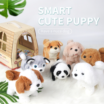 Robot Dog Electronic Pet Dog Plush Puppy Jump Wag Tail Leash Teddy Toys Walk Bark Funny Birthday Gift Toys For Children kids smart interactive plush puppy kids electronic toys cute robot dog walk bark jump wag tail dog toys for baby birthday gift