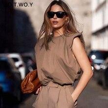WOTWOY Elegant Sleeveless Loose T-shirt Women High Street Summer Tops T