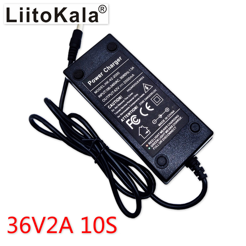 LiitoKala <font><b>10S</b></font> 36V2A <font><b>charger</b></font> 42V 2A <font><b>Charger</b></font> 100-240V Input Lithium Li-ion <font><b>Charger</b></font> For <font><b>36V</b></font> Electric Bike and wo-wheel Vehicle image