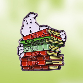 Peter Venkman Bill Murray Stack Books white ghost in the library enamel pin Ivan Reitman supernatural comedy film brooch badge image