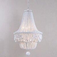 Large/White/wood chandelier beaded light modern/nordic/kitchen/french chandelier lighting in hallway/living room/foyer 8 lights