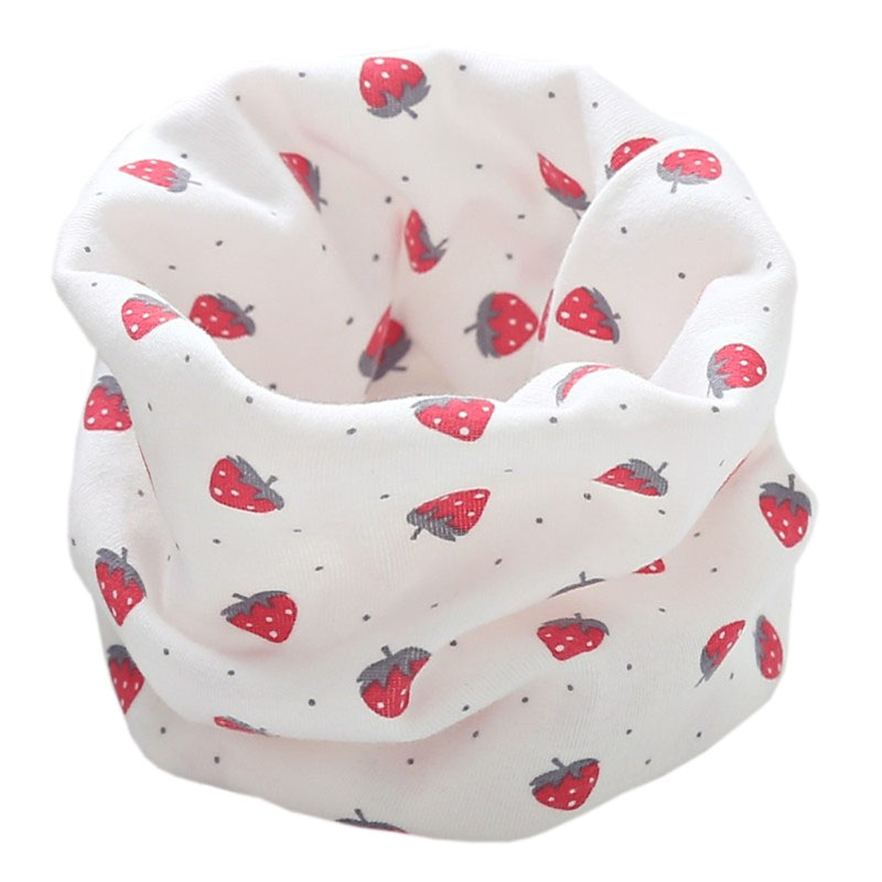 Новинка; Модный хлопковый шарф для маленьких девочек; осенне-зимний шарф для маленьких мальчиков; Детский шарф с круглым вырезом; Детские шарфы; волшебный шейный платок - Цвет: white strawberry