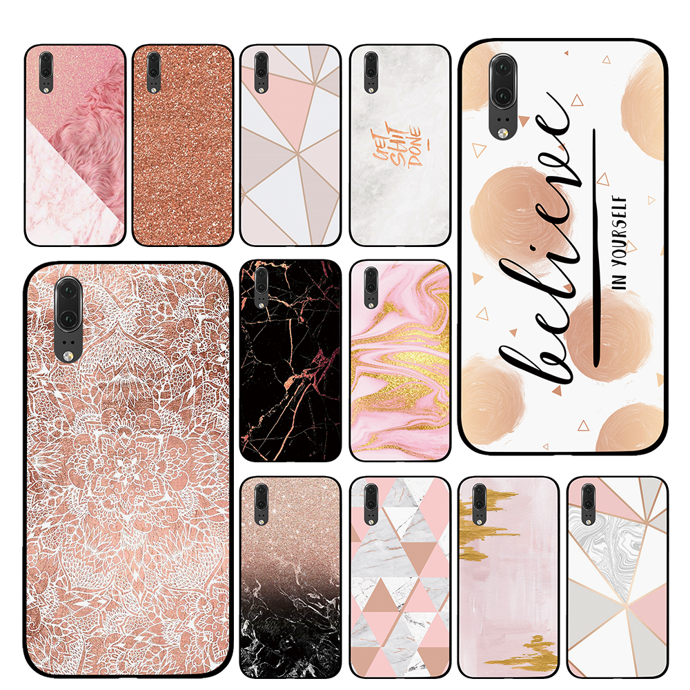 Rose <font><b>Gold</b></font> Marble For Huawei <font><b>Honor</b></font> V9 V10 8 <font><b>9</b></font> 10 8X 5A 7A 5X Play <font><b>Lite</b></font> TPU Phone Cases Cover image