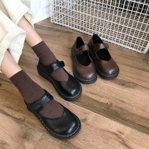 Image 2 - 문학과 예술적 복고풍 여성 구두, 평평한 단독, 일본 단화, 낮은 위, 둥근 머리 대학 바람 가죽 신발