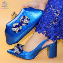 2019  Blue New Fashion Italian Wedding Shoes With Matching Bags Africa