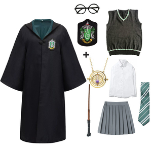 Cosplay Costume Potter Magic Robe Hermione Skirt Cape Necklace Suit Tie Wand Glasses Halloween Holiday Gift Haloween Costumes