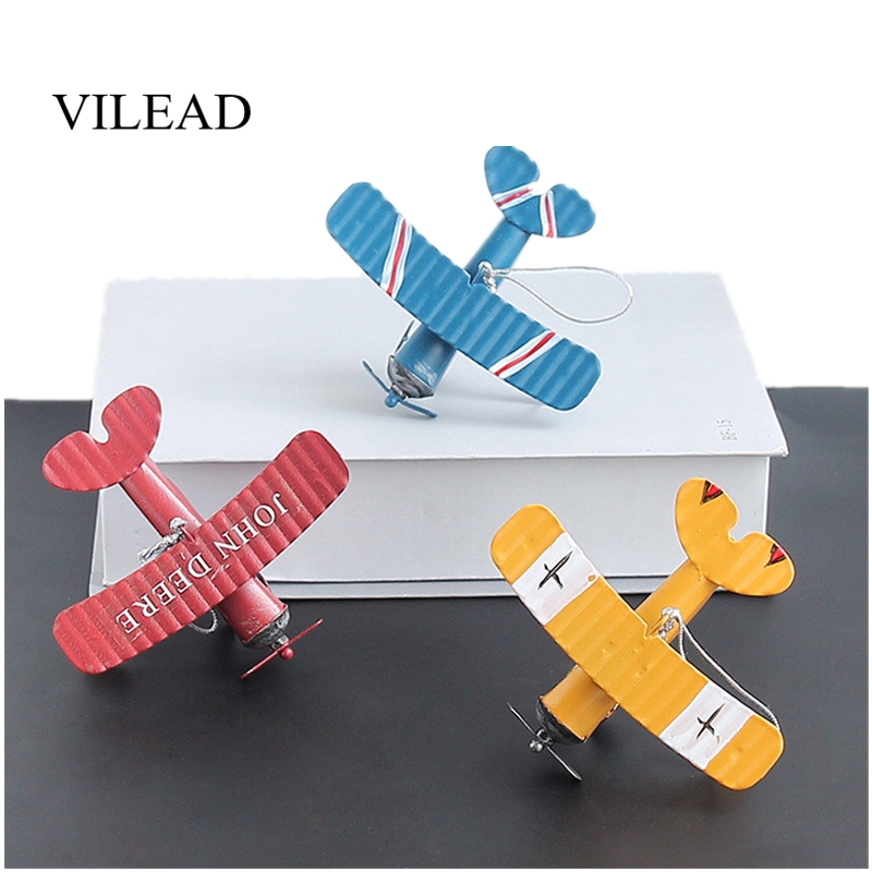 VILEAD Iron Retro Airplane Figurines  Metal Plane Model Vintage Glider Biplane Miniatures Home Decor Aircraft For Kids Gift