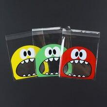 100 pcs/Lots Backen Paket Cartoon Großen Mund Monster Selbst Abdichtung Tasche Süßigkeiten Schokolade Geschenk Verpackung Partei Liefert