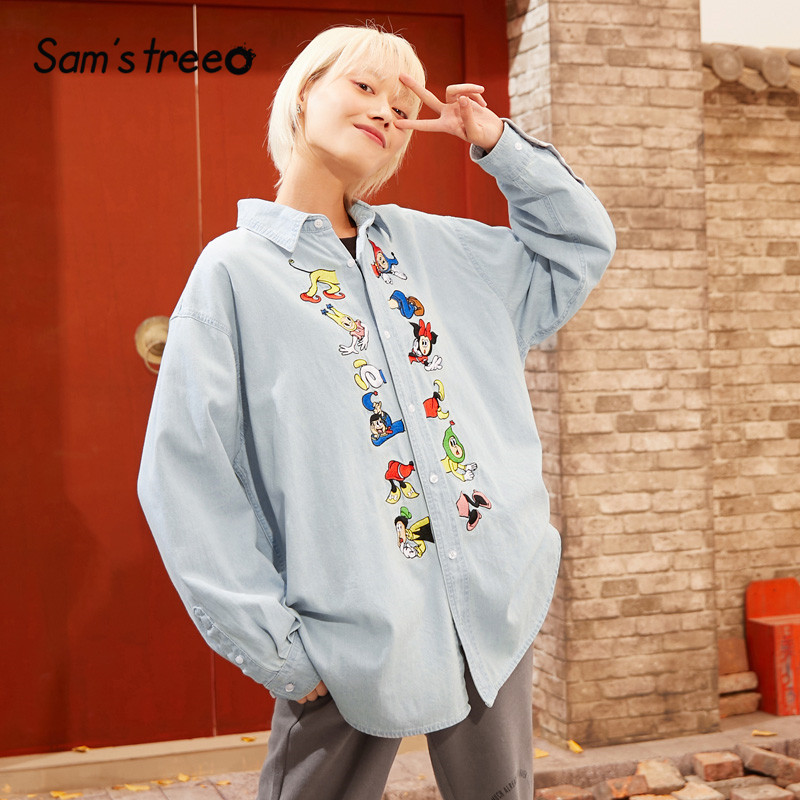 SAM'S TREE Blue Cartoon Embroidery Cowboy Casual Women Blouse 2020 Spring Special Korean Long Sleeve Washed Ladies Daily Tops