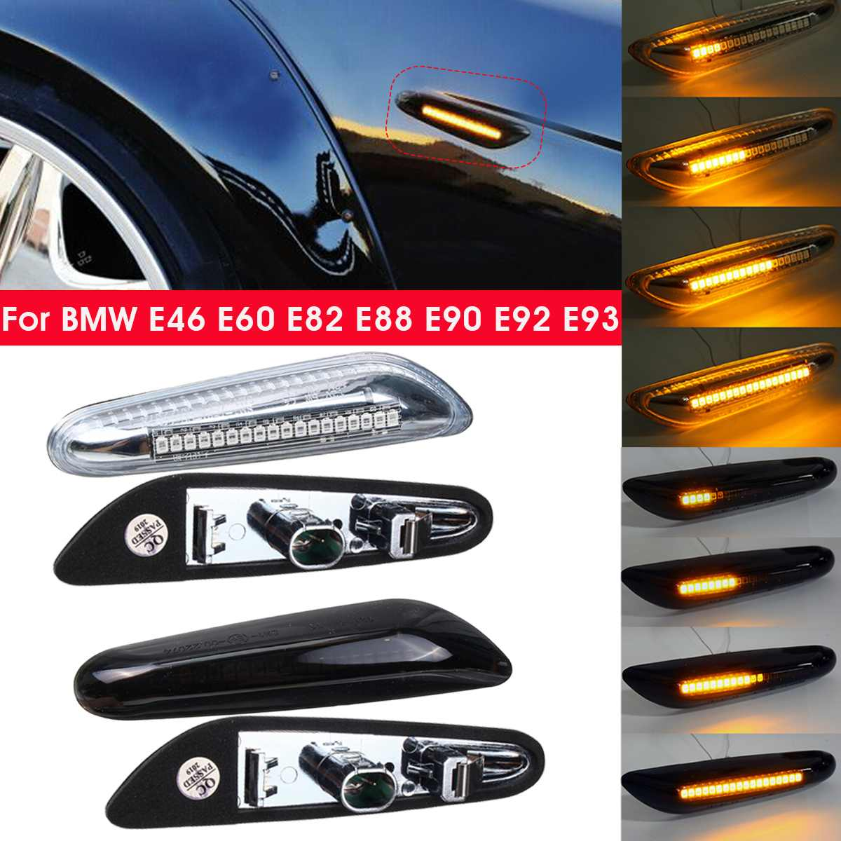 2pcs Fluindo Dinâmico LED Turn Signal Blinker Lado Marcador de Luz Da Lâmpada para BMW E46 E60 E61 E90 E91 E81 e82 E88 X3 X1