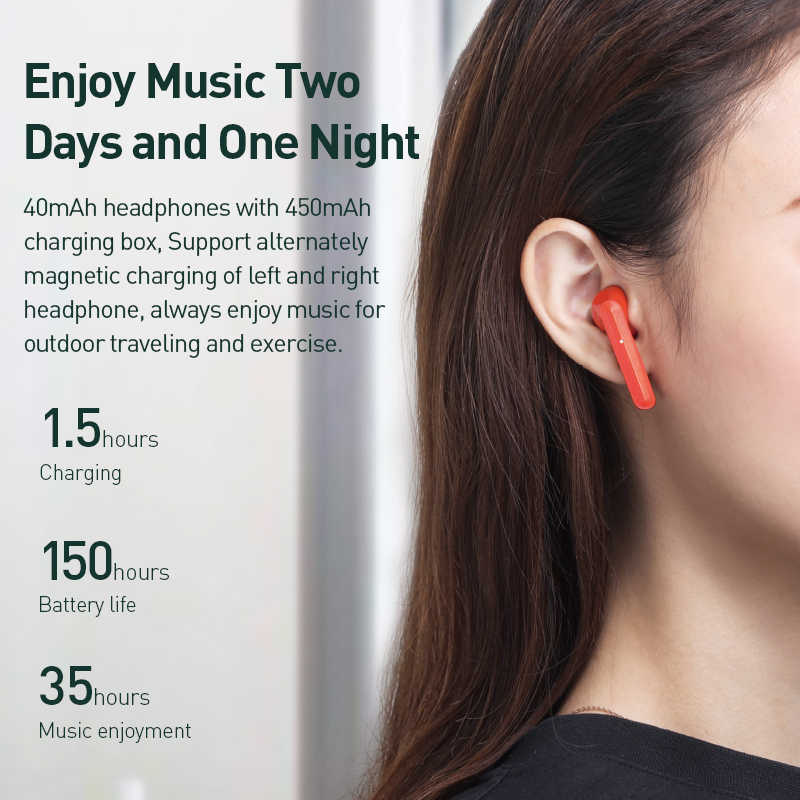 Baseus Tws Bluetooth Earphone W09 Intelligent Fingerprint Touch Control Wireless With Stereo Bass Sound Smart Connect Hd Headset Bluetooth Earphones Headphones Aliexpress