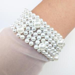 Image 5 - JaneVini High Quality Bridal Gloves Women Elegant Pearls Short Tulle Gloves Full Finger White Wedding Gloves Gant Blanc Adulte