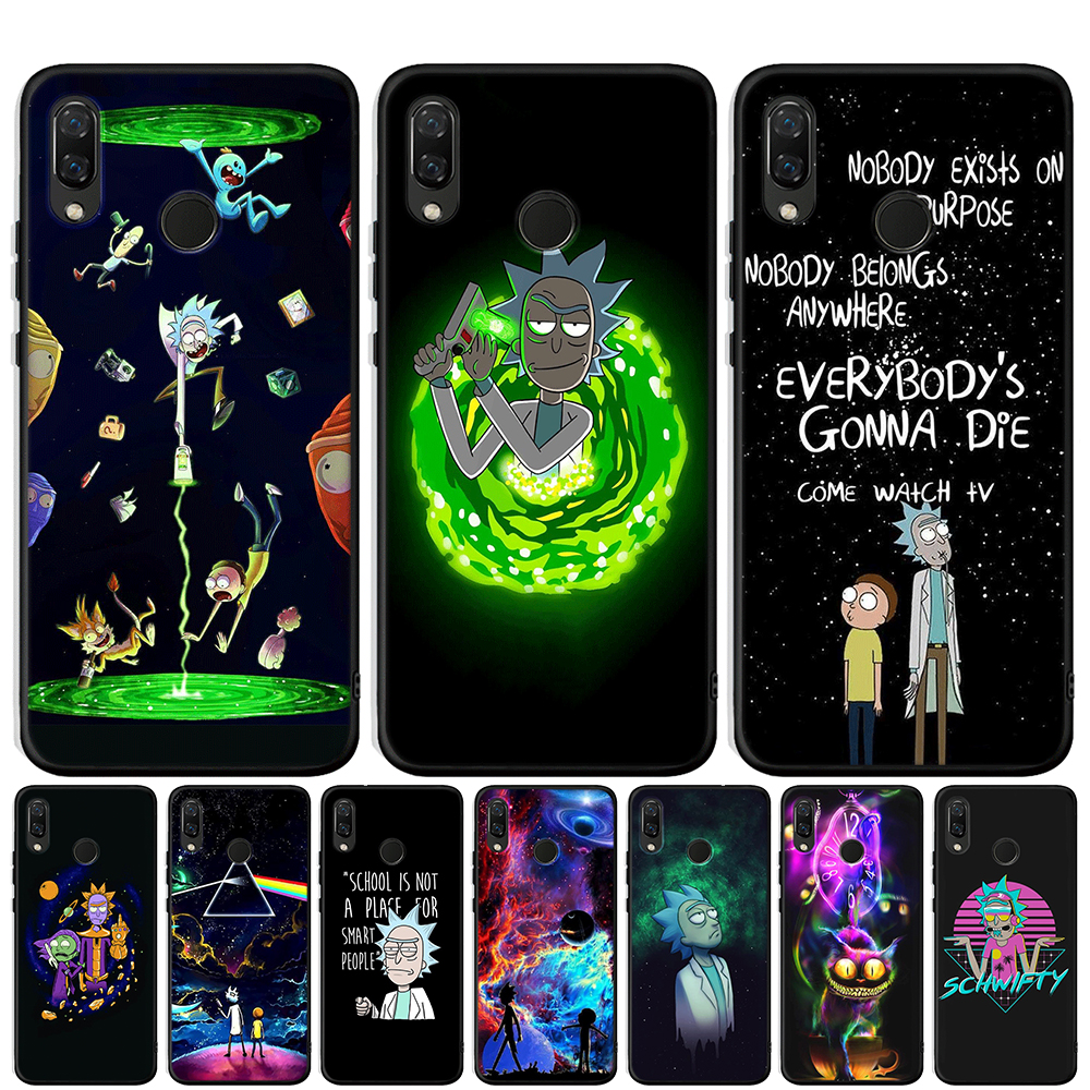 Anime Rick and Morty Cartoon Anime Phone Case For <font><b>Honor</b></font> 20 Pro 10 <font><b>9</b></font> 9i 8 <font><b>Lite</b></font> 8X 8S 8C 7A 7X V20 View 20 Black Cover Coque Etui image