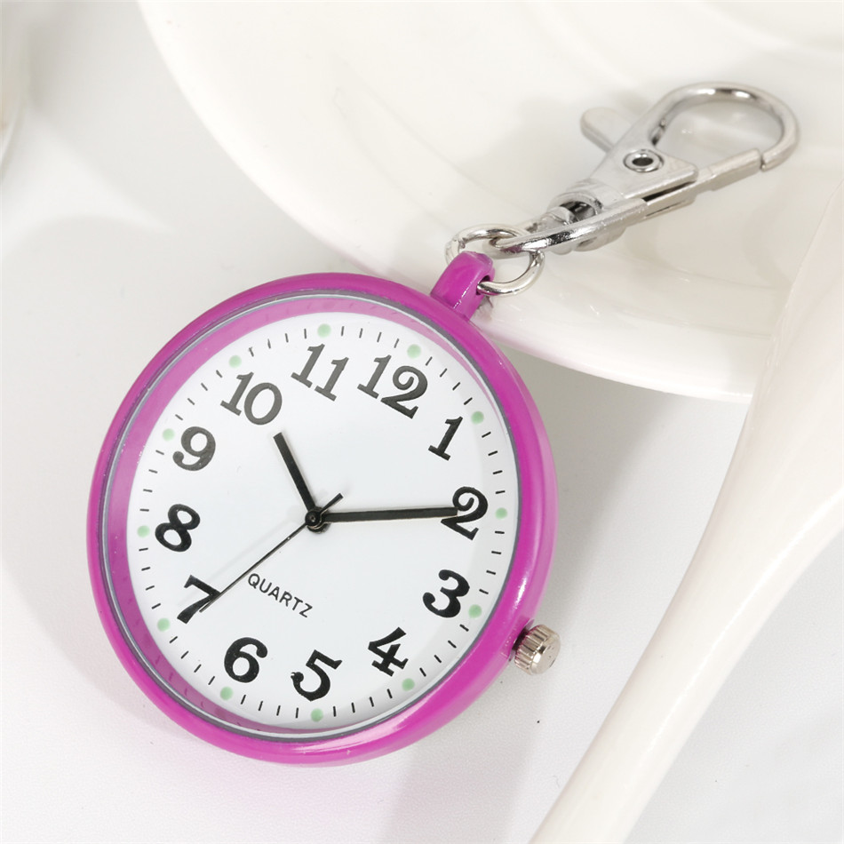 Luminous Display Keychain Nurse Pocket Watches Arabic Numerals Pendant Clock Gifts for Nurse Doctor
