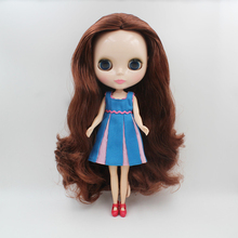 In Stock 30cm 1/6 Scale blyth Doll Bjd Toy Joint Body White Skin with Brownish Red mid-length Long Curly Hair for Fans Gifts toy gift free shipping 30cm doll 1 6 nude factory blyth doll 230bl1319 mint straight hair white skin joint body neo