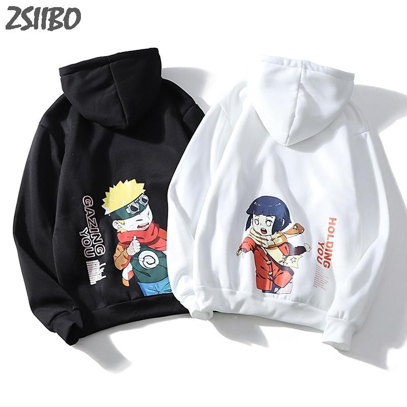 Harajuku Naruto Hinata Unisex Hoodies Couple wear Japanese Anime Printed Men's Hoodie Male Streetwear Fashion Casual Sweatshirts(China)