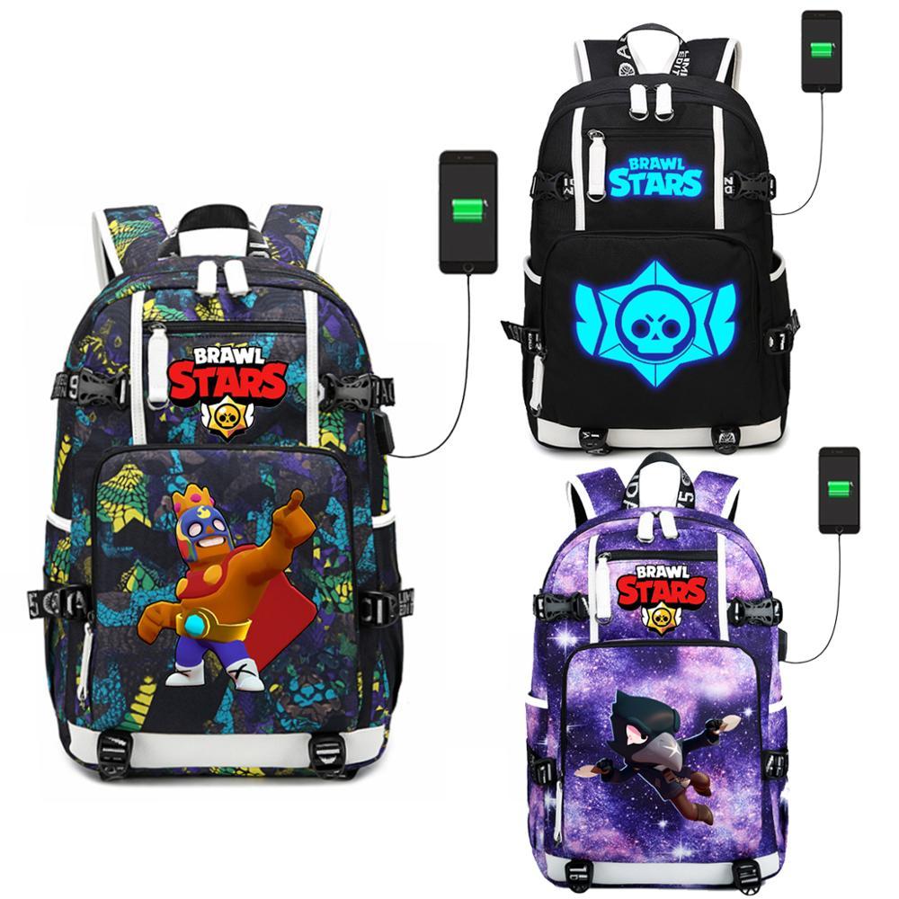 WISHOT Backpack Shoulder School-Bag Luminous-Bags Usb-Charging-Port Travel Brawl Stars
