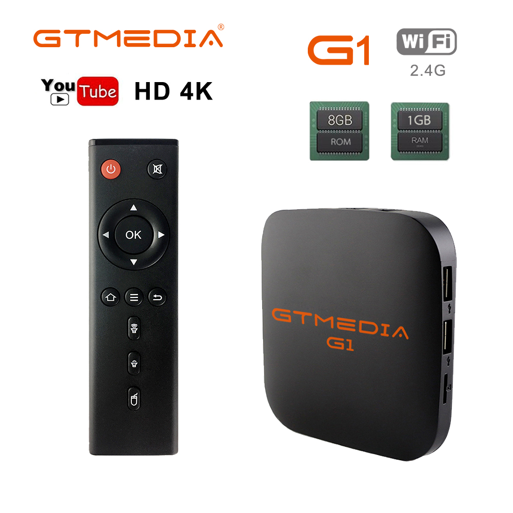 Original Globale GTmedia G1 TV Box 4K Android TV 7,1 Ultra HD Amlogic S905W 1G 8G WIFI google Cast IPTV Set-top-Box Media Player