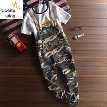 Summer Fashion Camouflage Casual Overalls Mens Cotton Ankle Length Jumpsuits Retro Cargo Pencil Pants Size M-3XL Boys Suspenders(China)