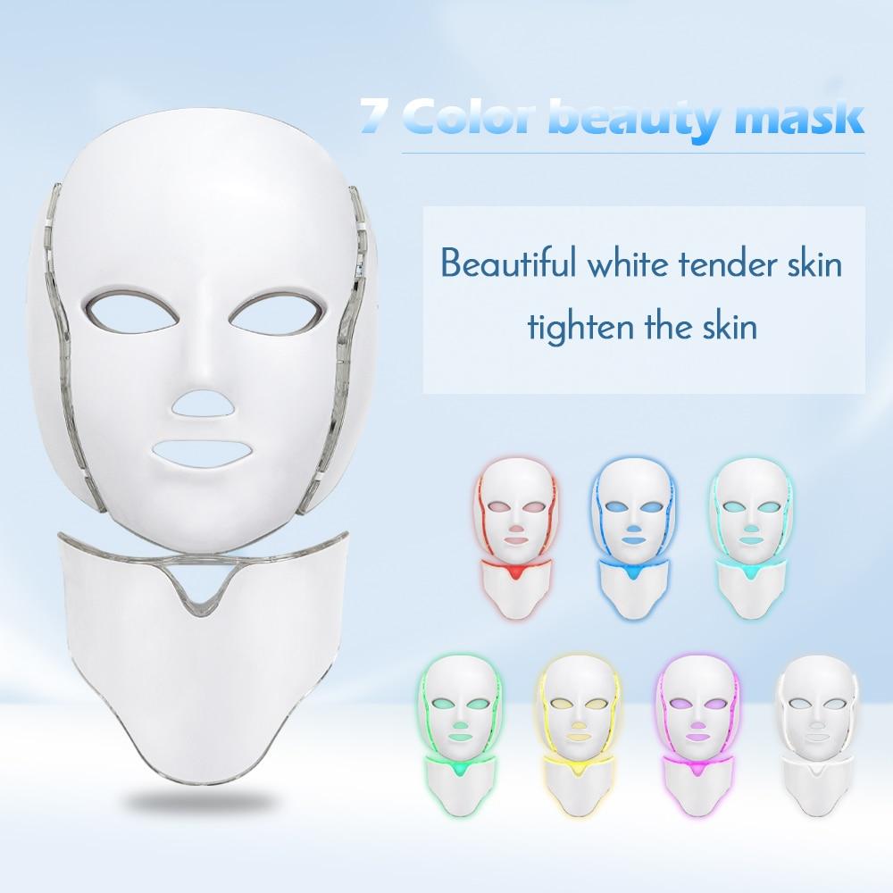 7 Colors Led Facial Mask with Neck Skin Rejuvenation Anti Acne Wrinkle Beauty Treatment Korean Photon Therapy Salon Home Use(China)