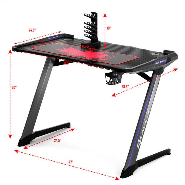 Costway Z-Shaped Gaming Computer Desk RGB LED Lights w/USB Handle Rack & Large Mouse Pad 2