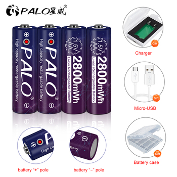PALO 2800mWh 1.5v AA battery rechargeable Li-polymer li-ion polymer lithium AA 1.5V battery + USB smart Charger and battery case 3 7v 300mah [303035] polymer lithium ion li ion battery for voice recorder pen smartband smart watch bluetooth mp3