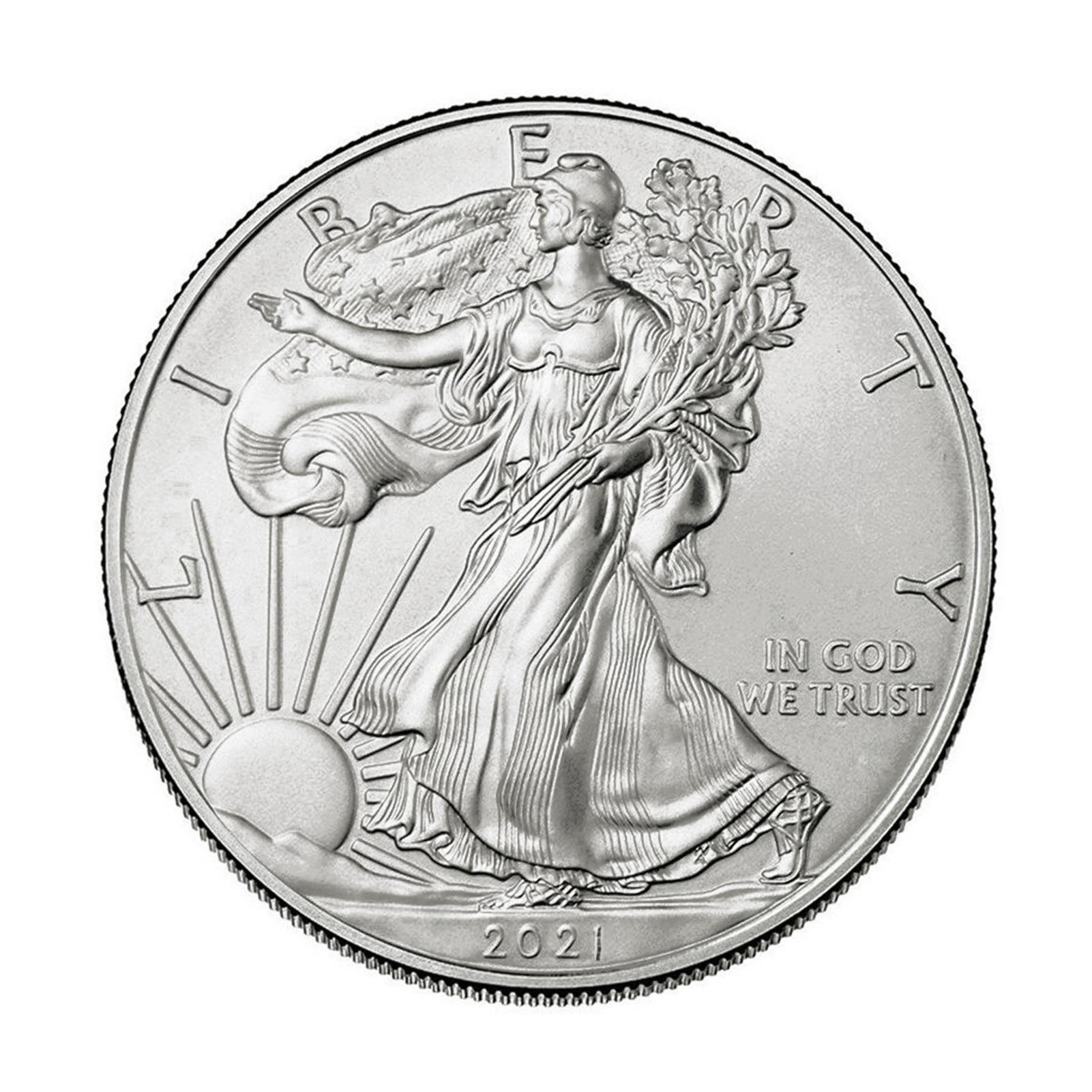 2020 2021 Посеребренная памятная монета американской статуи Свободы, Коллекционная монета Моргана, доллар США, 40 мм x 3 мм