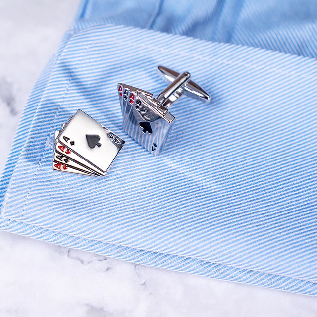Poker Cuff-links, Silver Plated