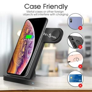Image 5 - Robotcube 4 in 1 Fast 15W Qi Wireless Charger for phone 11 X XS XR 10W Quick Charge 3.0 Dock Stand For Airpods Watch
