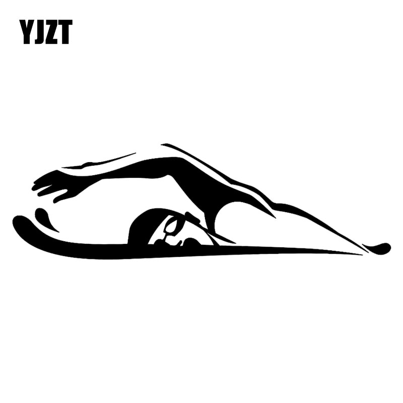 YJZT 18.7CM*5.7CM Sport Swim Swimmer Сrawl Breaststroke Fashion Stickers Decals Car-Styling Decor Vinyl Black/Silver C31-0034
