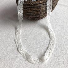 Bricolage matériel en coton S1290 garniture en dentelle blanche brodée à la main patchwork embellissement ruban 1cm
