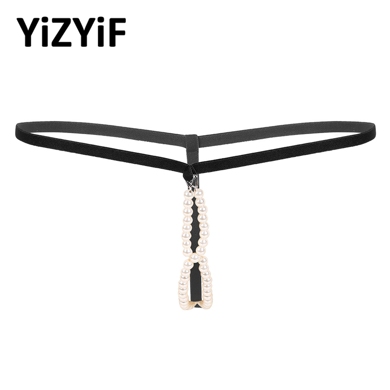 Men Jockstrap G-String Thong Crotchless Artificial Pearl Elastic Waistband O-Ring T-back Lingerie Sexy Thong Gay Men Underwear