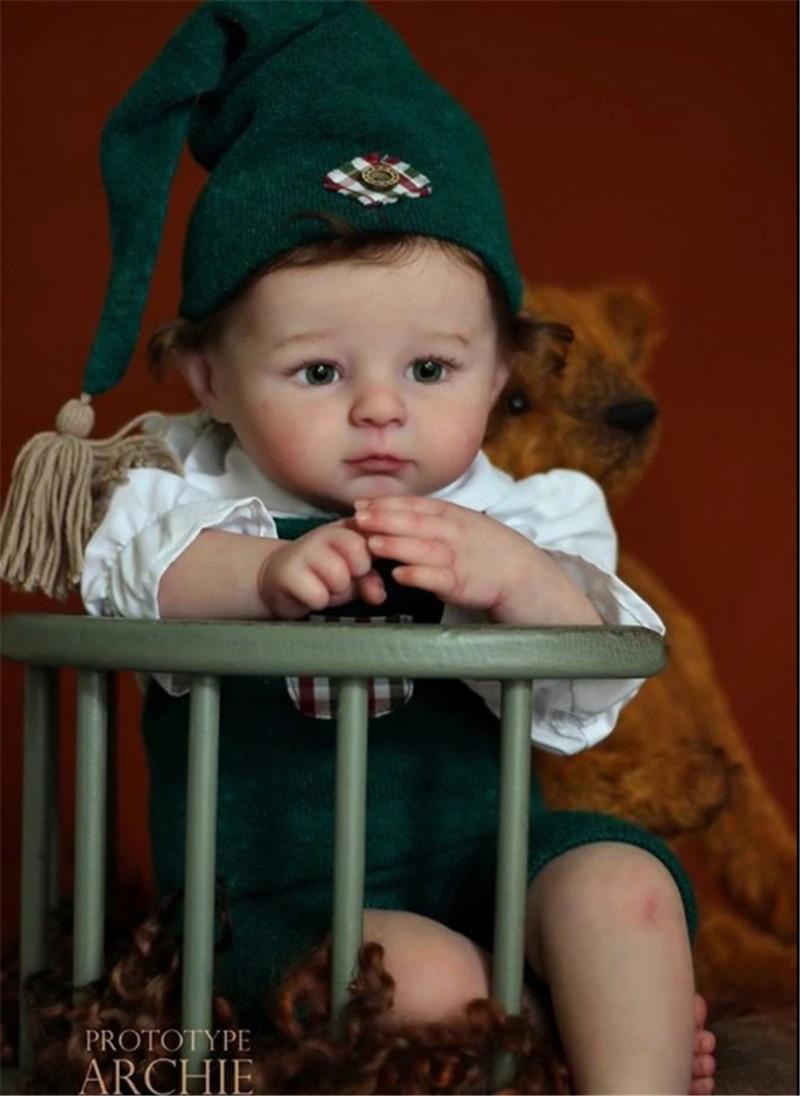 22 zoll Reborn Puppe Kit Archie Mit Tuch Körper Frische Farbe Diy Puppe Kits Real Touch Puppe Kits Für Kinder spielzeug
