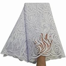 Tela de encaje de tul francés blanco con diamantes de imitación, 5 yardas, Material de bordado de alta calidad para mujeres africanas Boubou