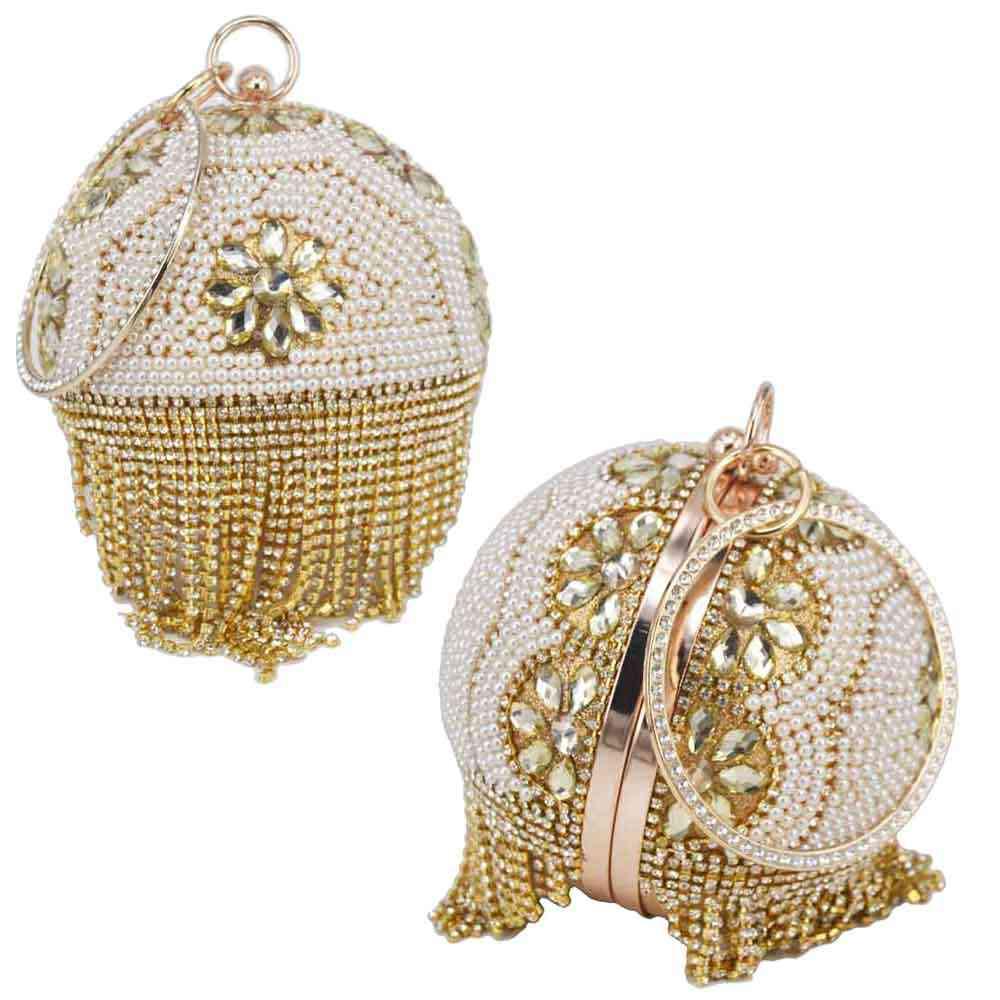 Ontwerp Gouden Bal Polsbandjes Tas Vrouwen Zilveren Kralen Parel Mini Tote Handtas Ketting Lady Wedding Bridal Avond Handtas Clutch Bag