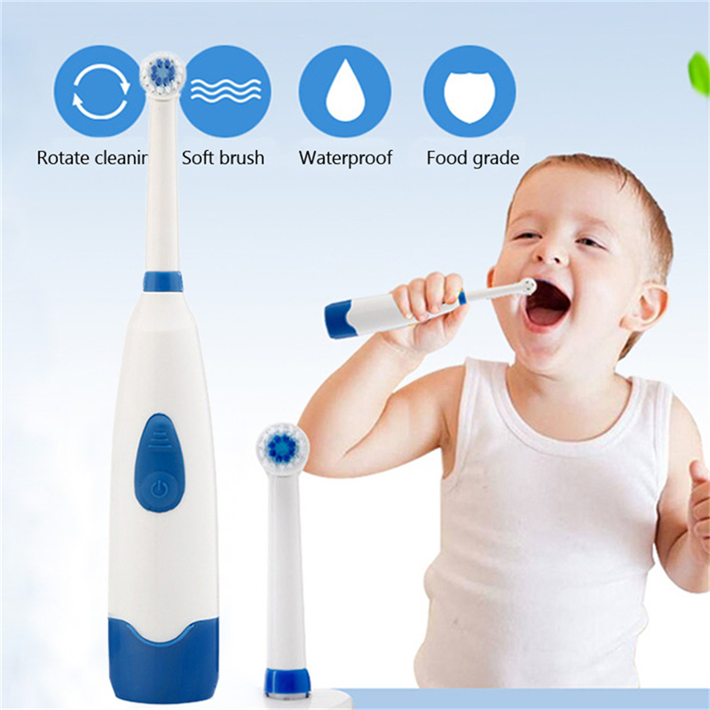 Electric Toothbrush for Baby Kid Children Waterproof Rotating Teeth Whitening Oral Hygiene Tooth Brush With 2 Replace Brush Head