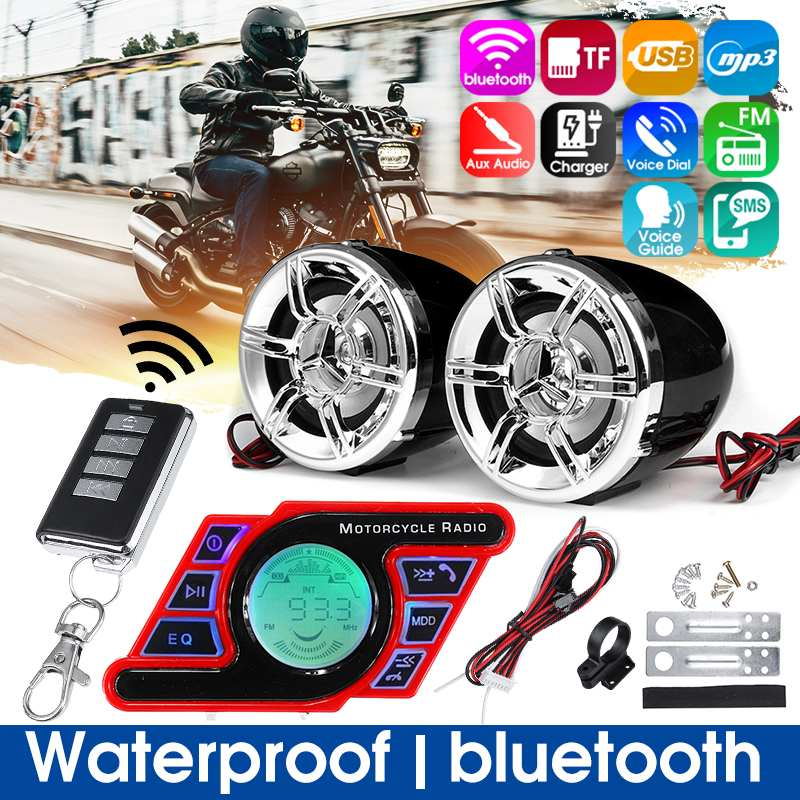 Motorcycle Studio bluetooth Audio Sound System Stereo Speaker voice Dial FM Radio MP3 Music Player Scooter Remote Control Alarm