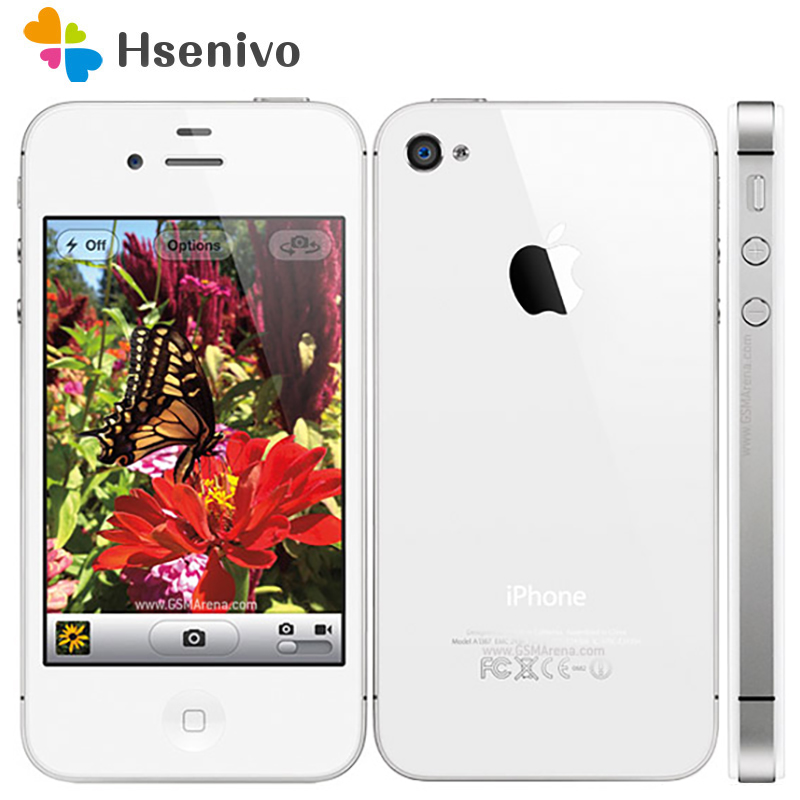 IPhone 4S Original Factory Unlocked Apple IPhone 4S IOS Dual Core 8MP WIFI WCDMA Mobile Cell Phone TouchScreen ICloud Phone