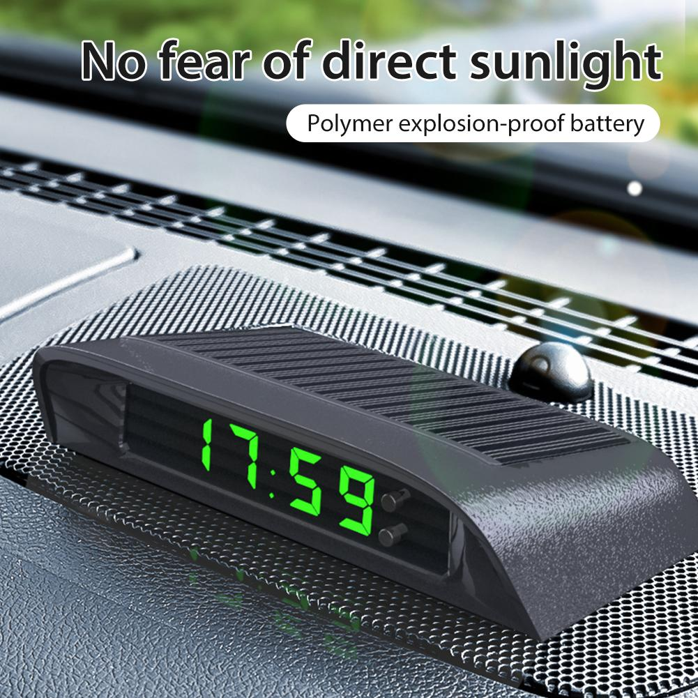 Car Clock Auto Internal Stick-On Digital Watch Solar Powered 24-Hour Car Clock With Built-in Battery Car Electronic Accessories