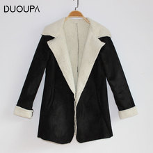 DUOUPA 2019 Autumn and Winter  Large Lapel Cashmere Warm Jacket Cardigan Loose Size Mink Coat Without Buckle Female