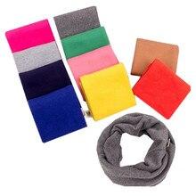 LIHFSI, 10 цветов, однотонный шарф для девочек, теплый шарф для детей, Детский хлопковый шарф для девочек, однотонный волшебный шарф с круглым вырезом, детский шарф
