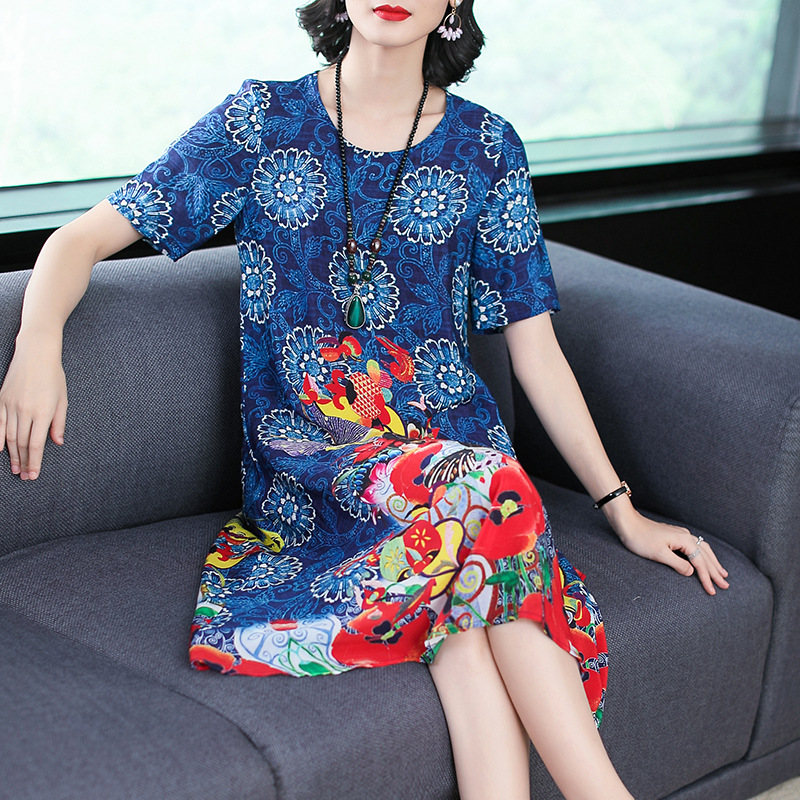 Multi-color Selectable 2019 Summer New Style Ozhouzhan Printed Important Silk Dress Mulberry Silk Slimming A- Line Skirt Sub-