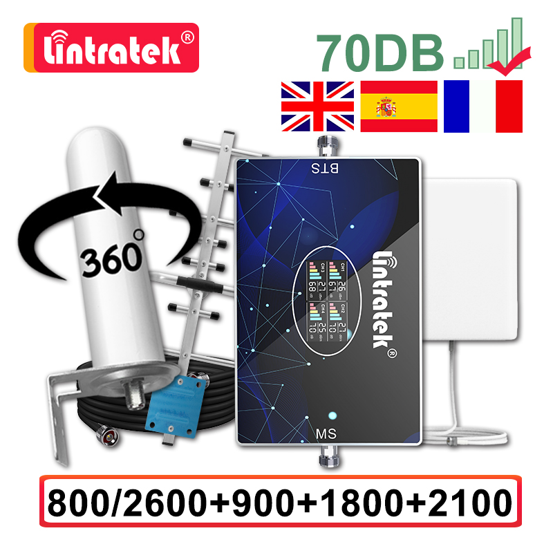 Lintratek 70dB Four Band Signal Booster 800 900 1800 2100 2600 Celular Repeater GSM 2G 3G 4G Amplifier Yagi Omni Antenna 15M AGC
