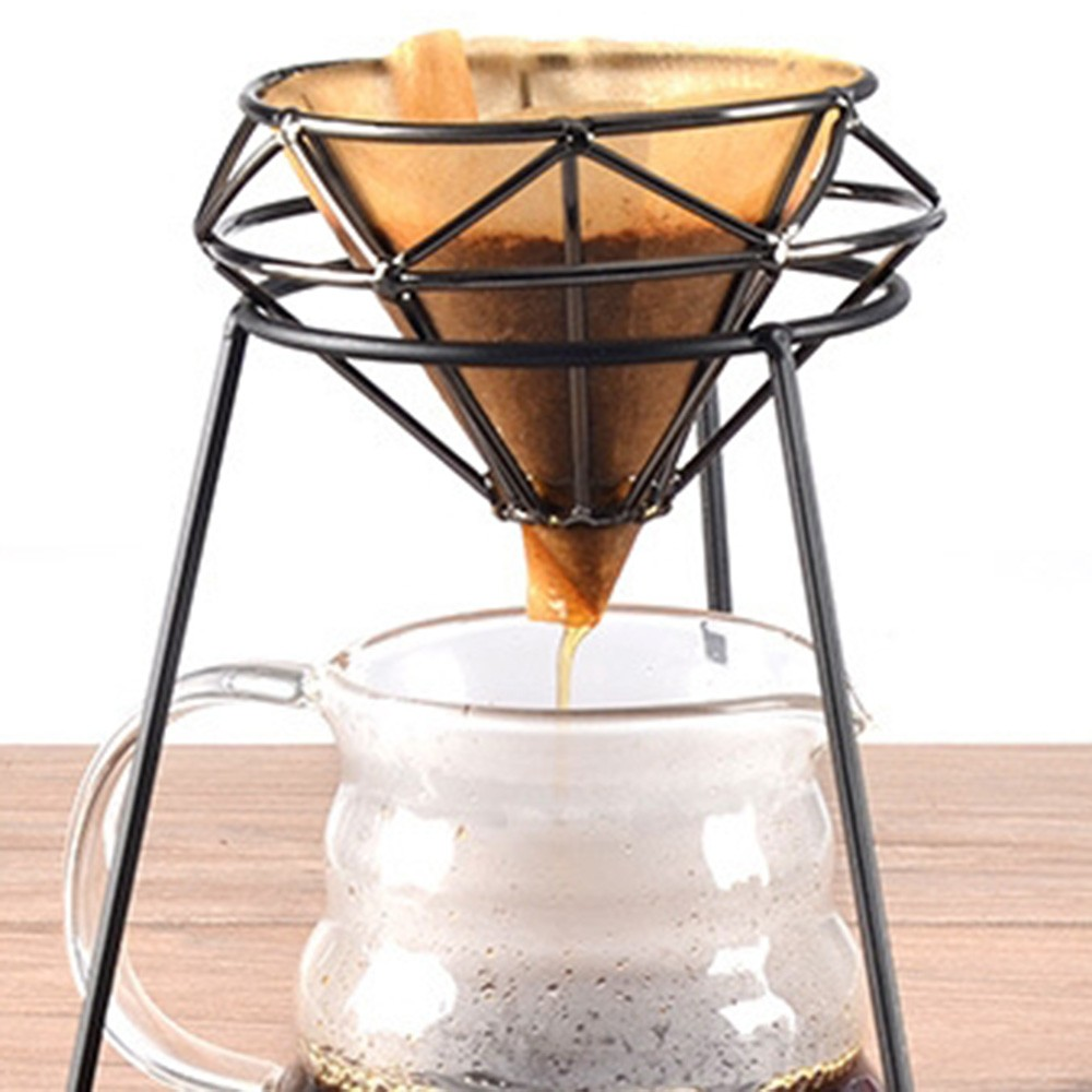 Iron Pour Over Maker Coffee Filter Holder Drip Coffee Non-slip Cup Stand Reusable Coffee Filter Rack Pour Over Coffee Organizer