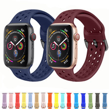 Silicone bands for apple watch band 4 44mm 40mm (iwatch 5) applewatch strap 3 2 1 42mm 38mm Fashion sports bracelet Accessories(China)